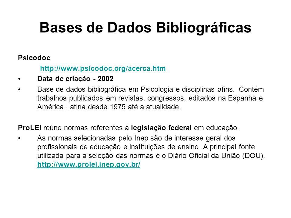 Bases de Dados Bibliográficas