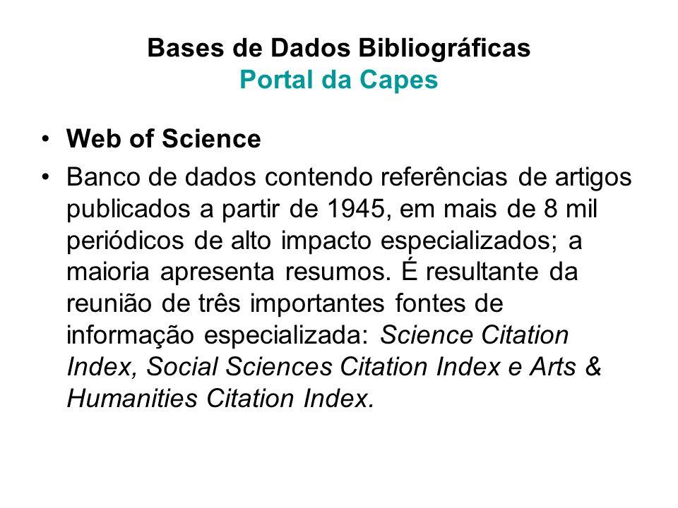 Bases de Dados Bibliográficas Portal da Capes