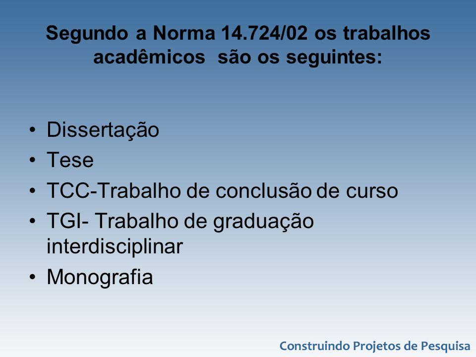 Segundo a Norma 14.724/02 os trabalhos acadêmicos são os seguintes: