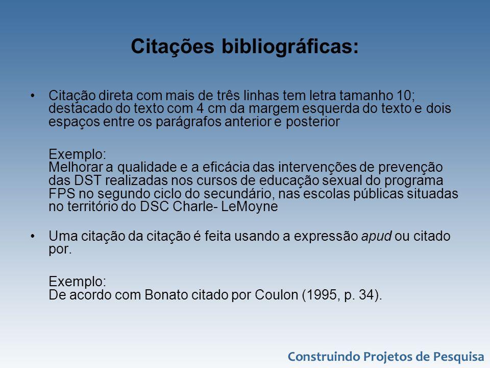 Citações bibliográficas: