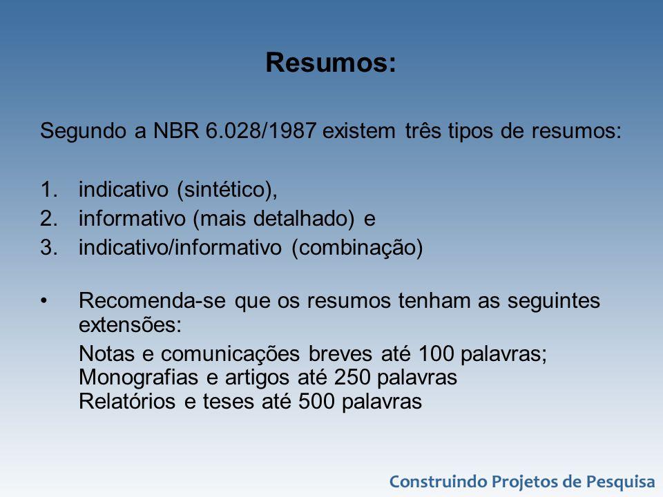 Resumos: Segundo a NBR 6.028/1987 existem três tipos de resumos: