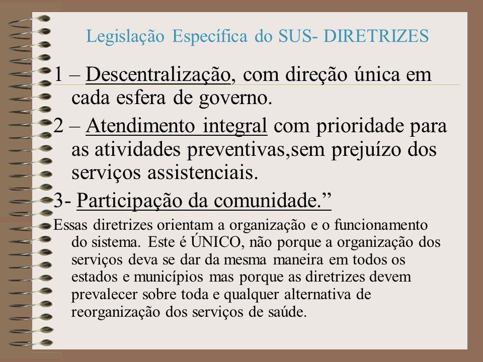 Legislação Específica do SUS- DIRETRIZES