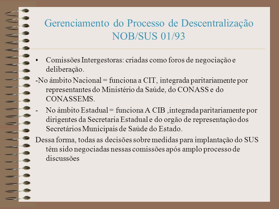 Gerenciamento do Processo de Descentralização NOB/SUS 01/93