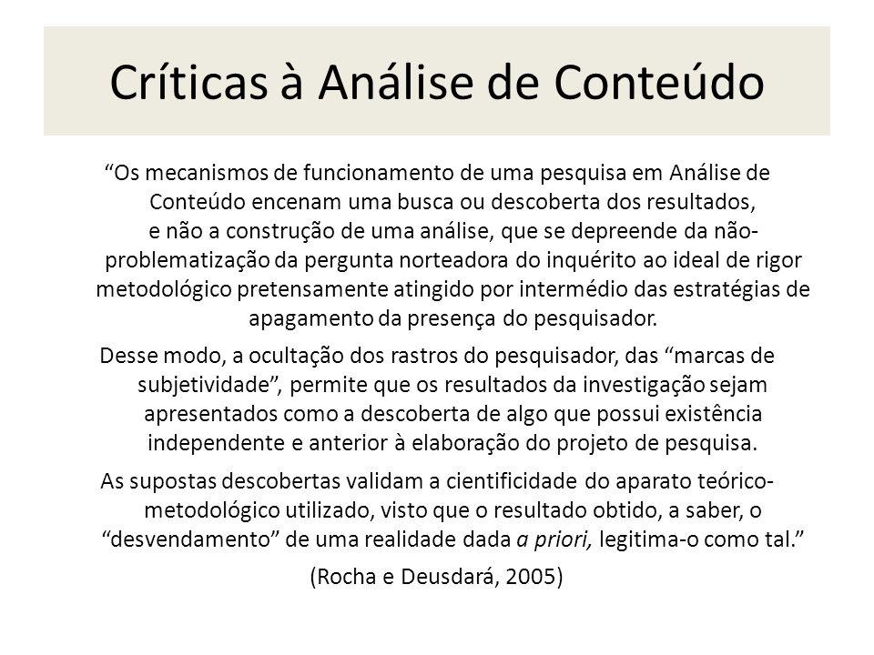 Críticas à Análise de Conteúdo