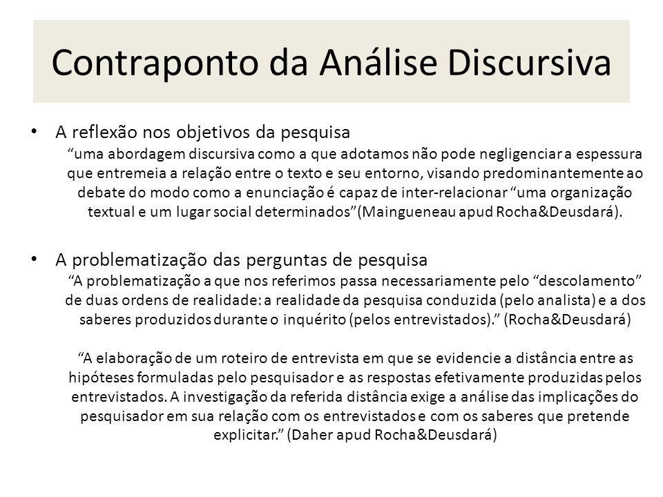 Contraponto da Análise Discursiva