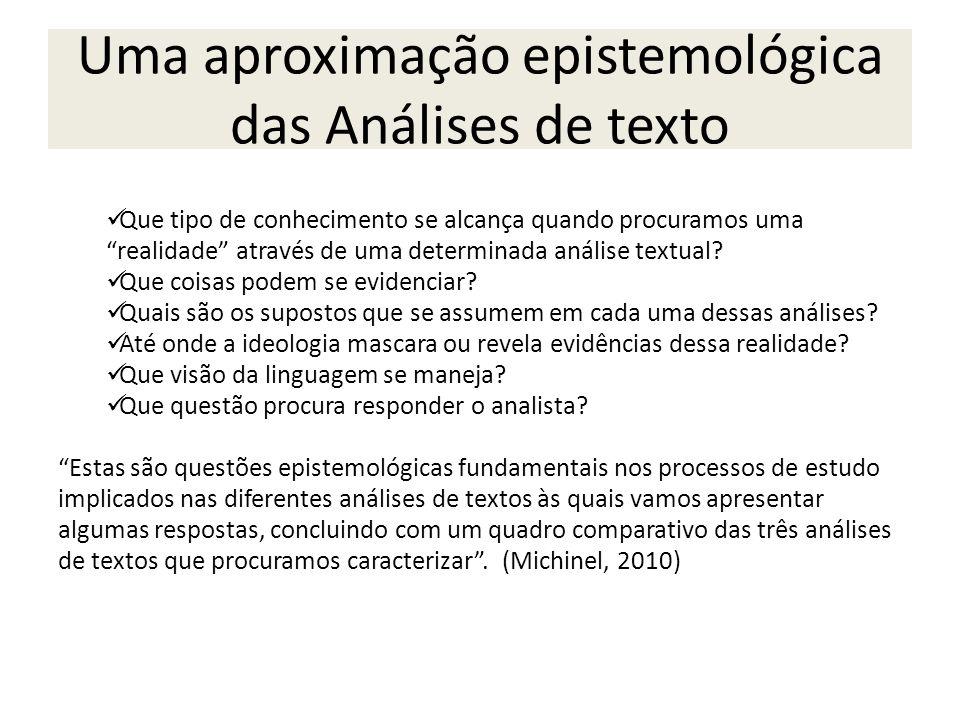 Uma aproximação epistemológica das Análises de texto