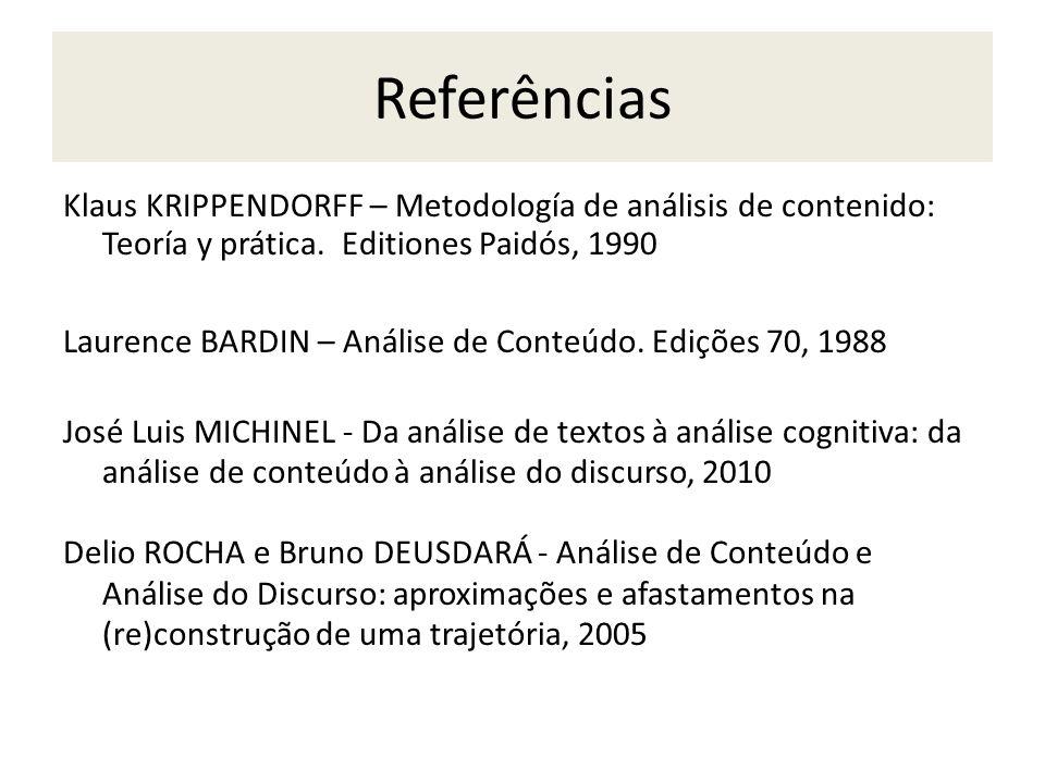 Referências Klaus KRIPPENDORFF – Metodología de análisis de contenido: Teoría y prática. Editiones Paidós, 1990.