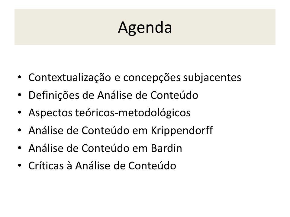 Agenda Contextualização e concepções subjacentes