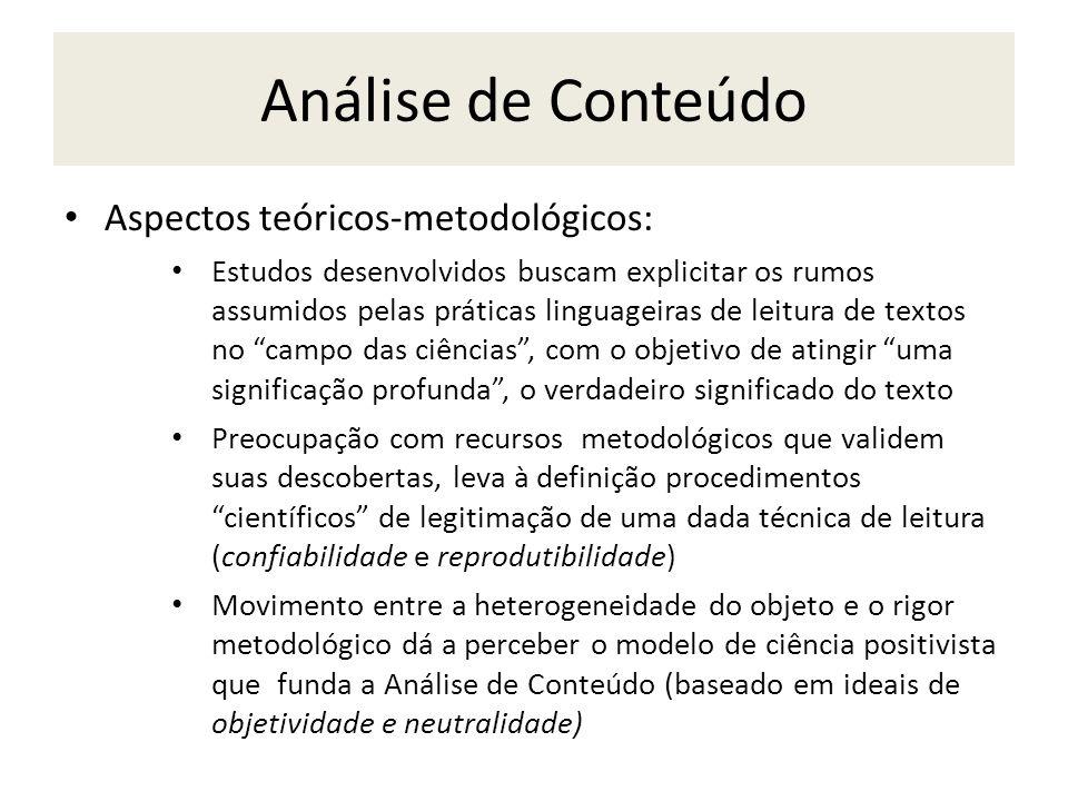 Análise de Conteúdo Aspectos teóricos-metodológicos:
