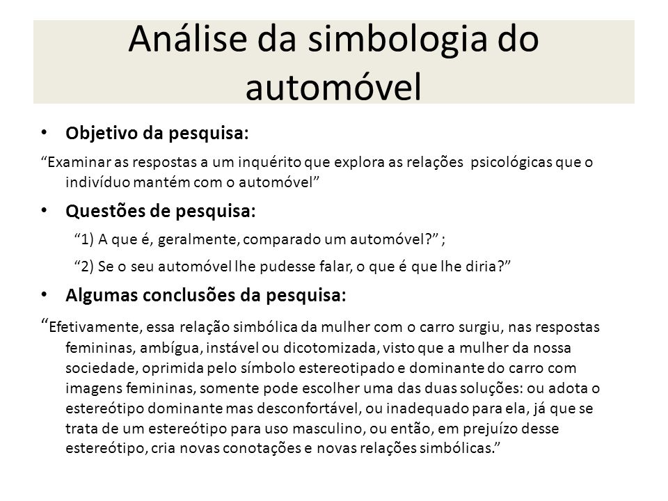 Análise da simbologia do automóvel
