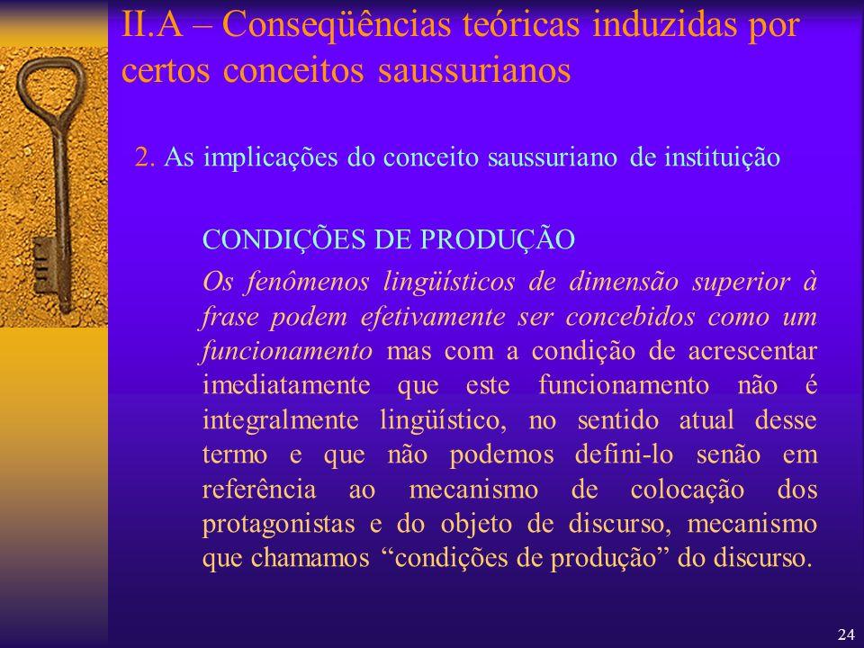 II.A – Conseqüências teóricas induzidas por certos conceitos saussurianos
