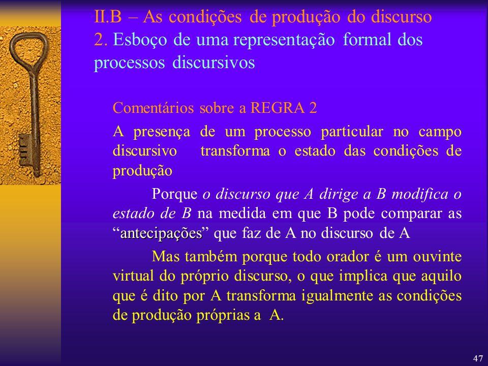 II. B – As condições de produção do discurso 2