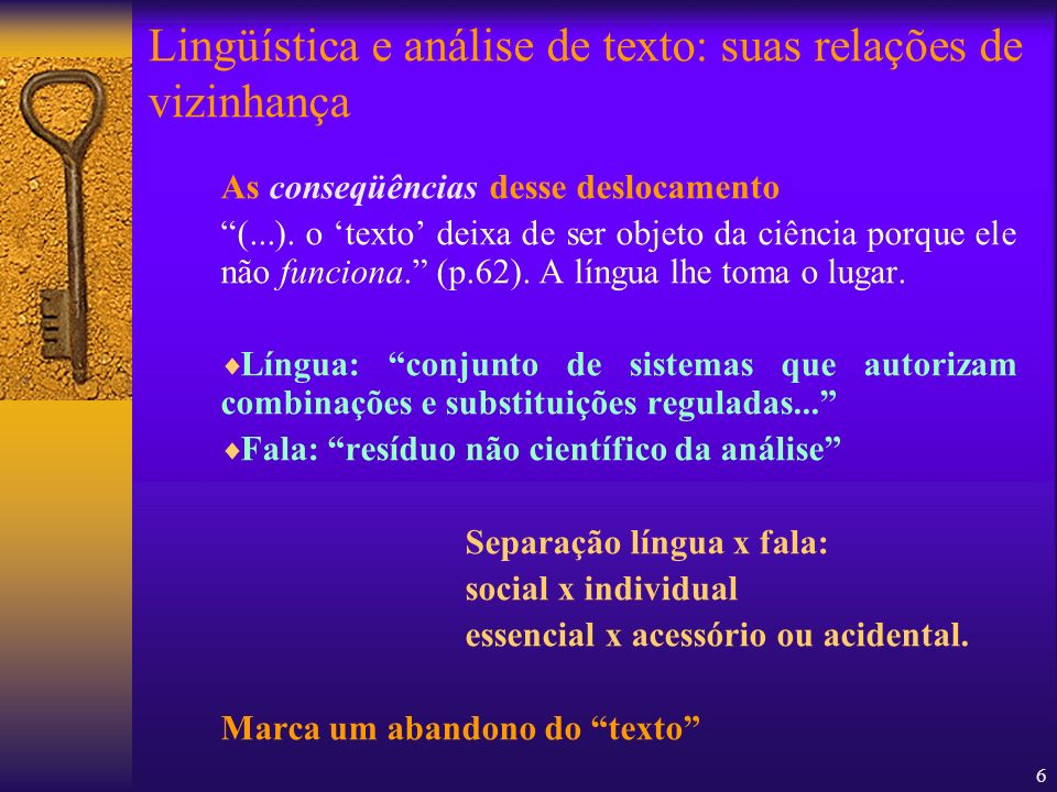 Lingüística e análise de texto: suas relações de vizinhança