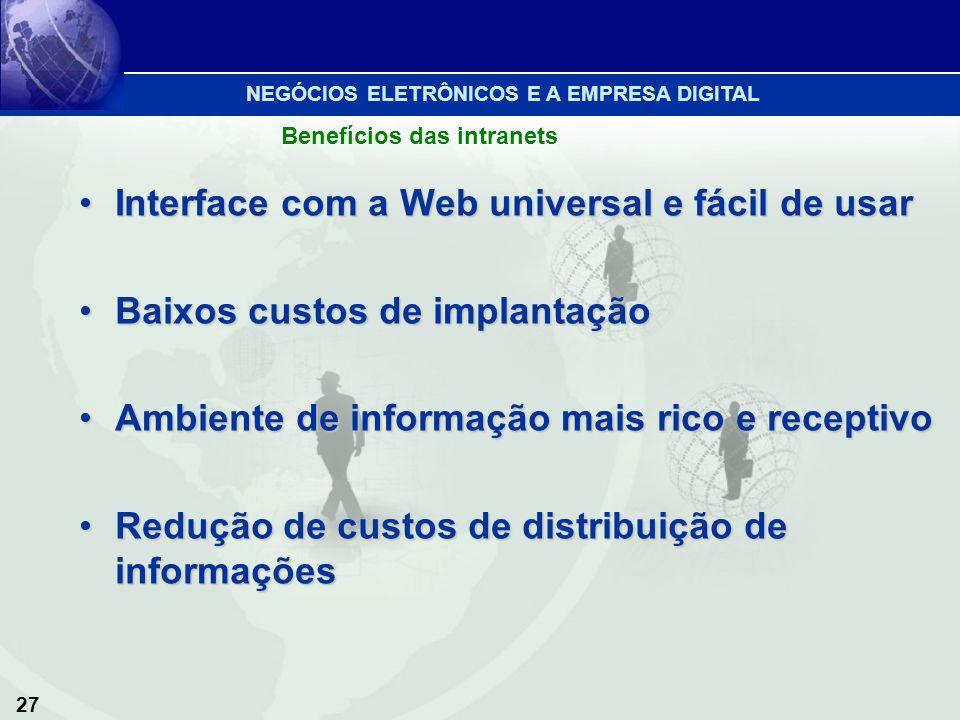 Interface com a Web universal e fácil de usar