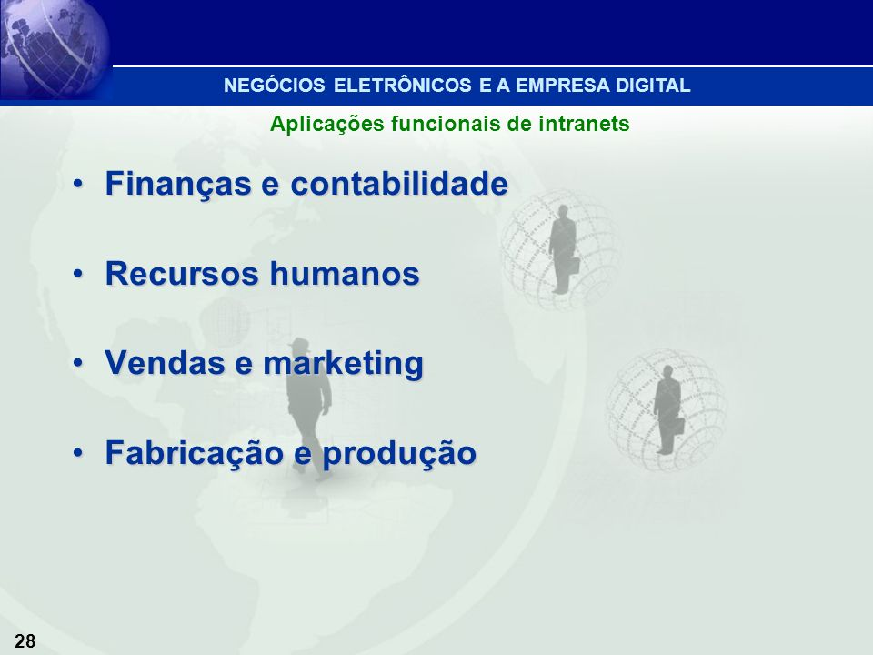 Finanças e contabilidade Recursos humanos Vendas e marketing