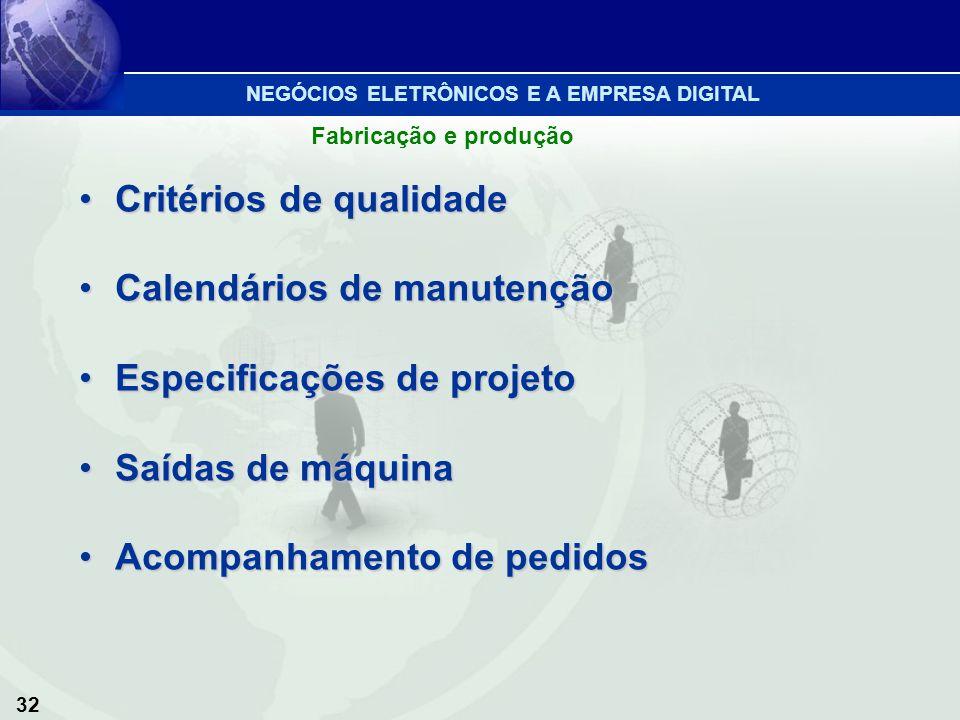 Critérios de qualidade Calendários de manutenção