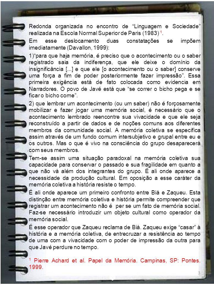 Redonda organizada no encontro de Linguagem e Sociedade realizada na Escola Normal Superior de Paris (1983) 1.