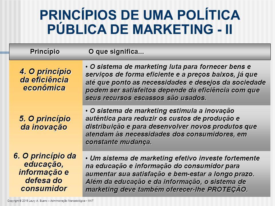 PRINCÍPIOS DE UMA POLÍTICA PÚBLICA DE MARKETING - II