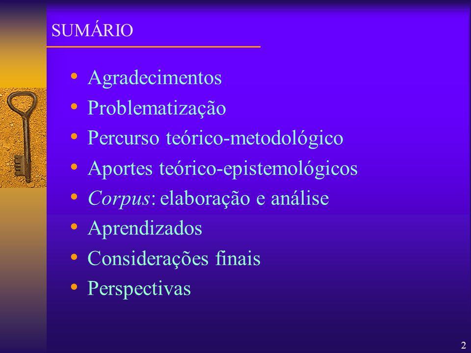 Percurso teórico-metodológico Aportes teórico-epistemológicos