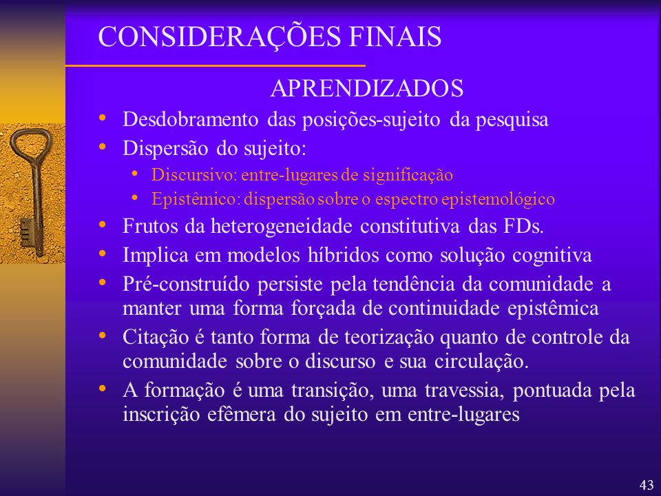 CONSIDERAÇÕES FINAIS APRENDIZADOS