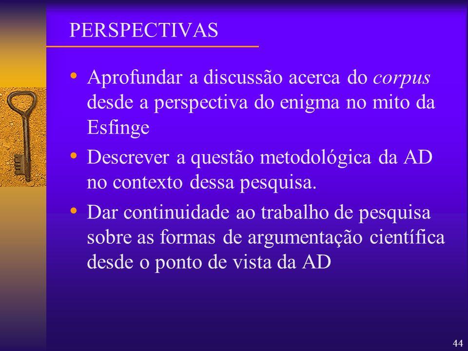 PERSPECTIVASAprofundar a discussão acerca do corpus desde a perspectiva do enigma no mito da Esfinge.