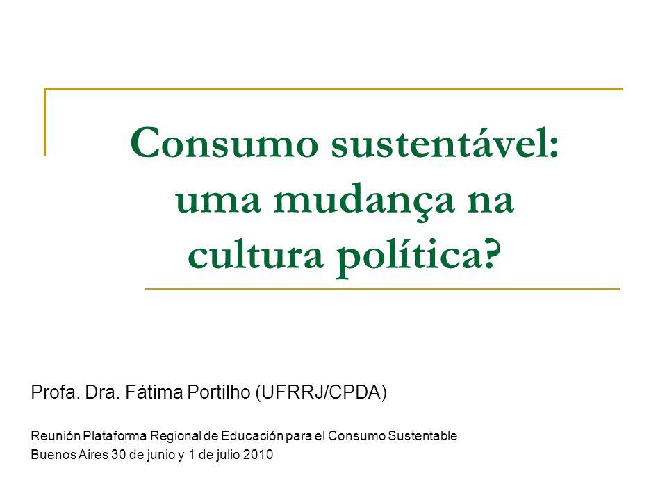 Consumo sustentável: uma mudança na cultura política
