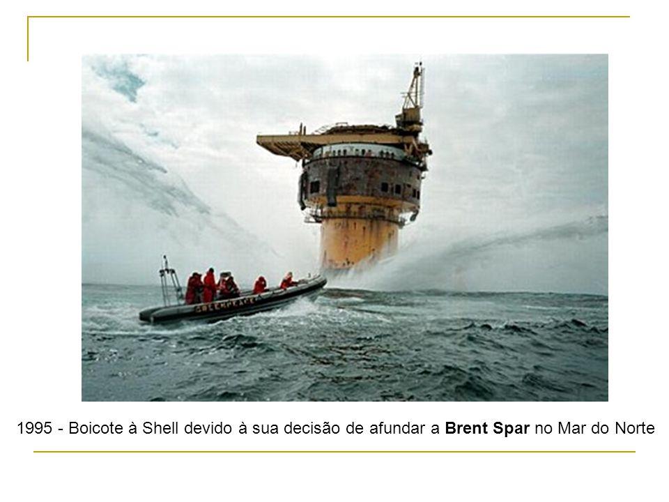 1995 - Boicote à Shell devido à sua decisão de afundar a Brent Spar no Mar do Norte