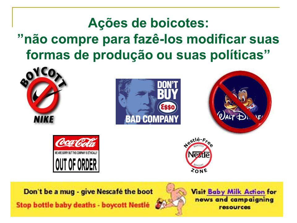 Ações de boicotes: não compre para fazê-los modificar suas formas de produção ou suas políticas