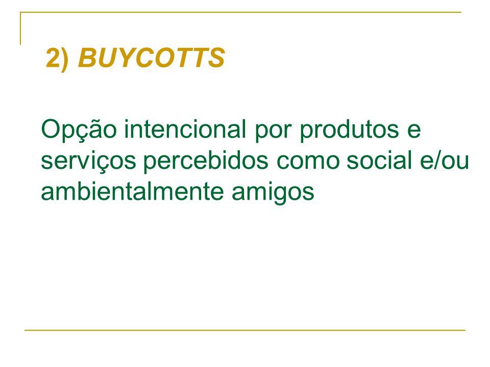2) BUYCOTTS Opção intencional por produtos e serviços percebidos como social e/ou ambientalmente amigos.