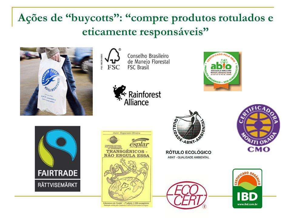 Ações de buycotts : compre produtos rotulados e eticamente responsáveis