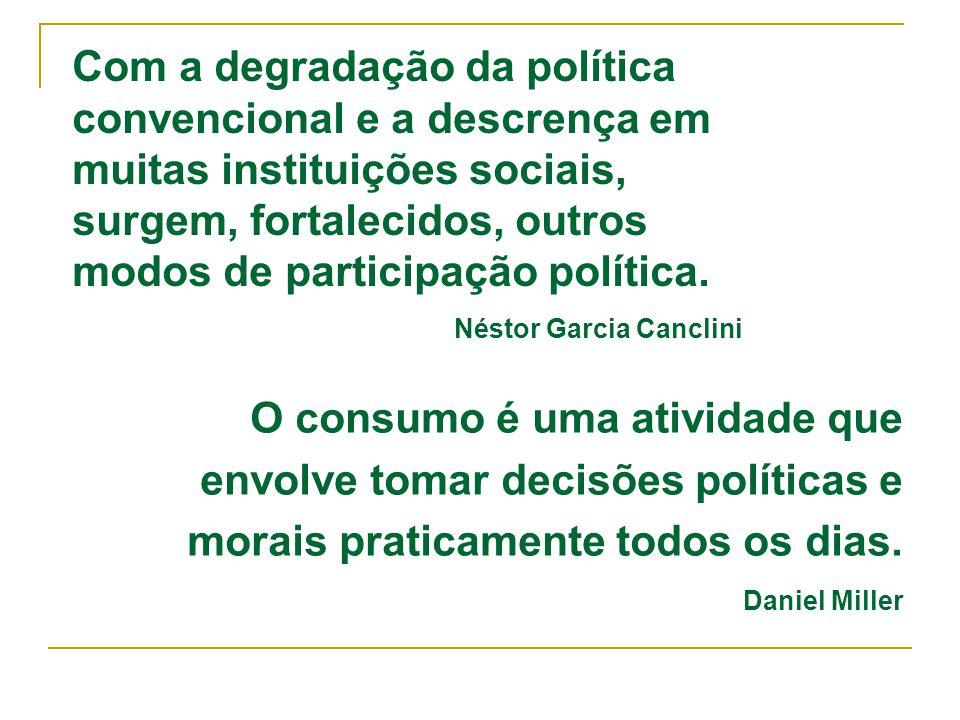 O consumo é uma atividade que envolve tomar decisões políticas e
