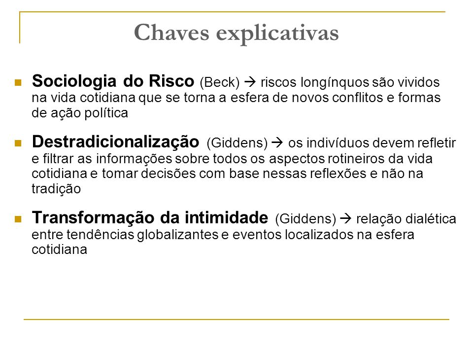 Chaves explicativas