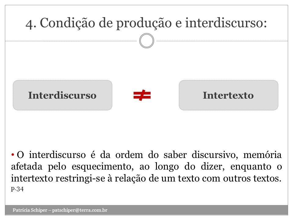 4. Condição de produção e interdiscurso: