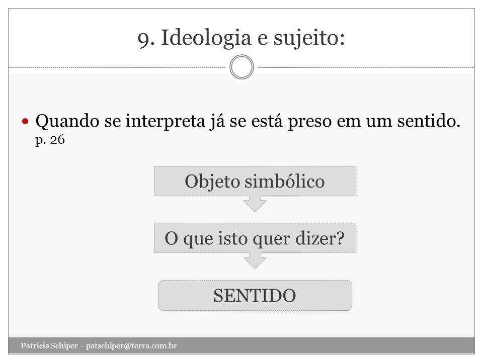 9. Ideologia e sujeito: Objeto simbólico O que isto quer dizer