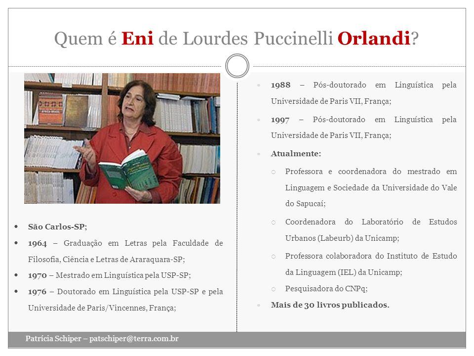 Quem é Eni de Lourdes Puccinelli Orlandi