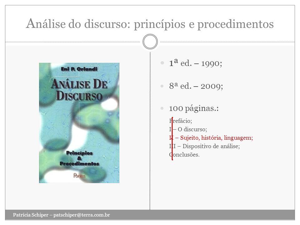 Análise do discurso: princípios e procedimentos