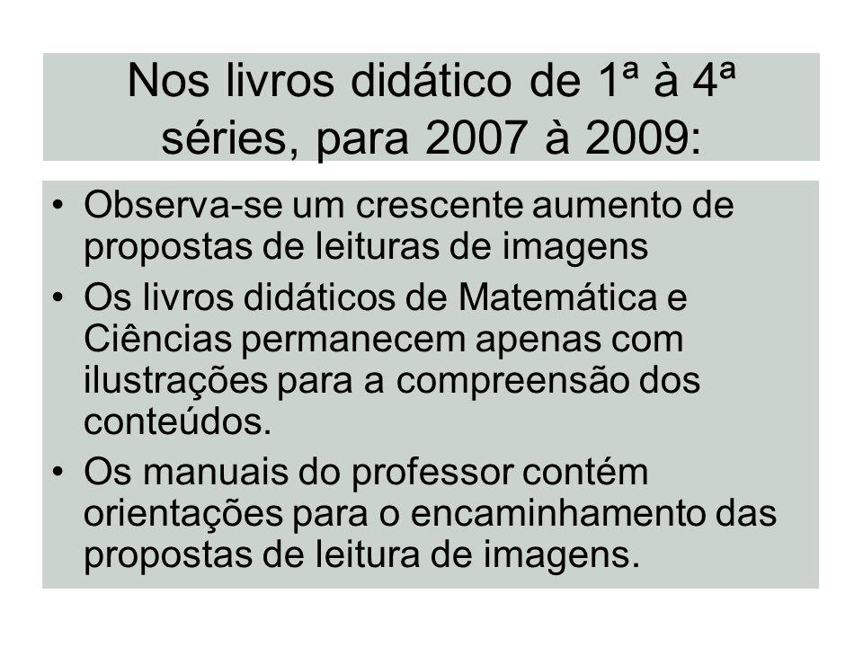 Nos livros didático de 1ª à 4ª séries, para 2007 à 2009: