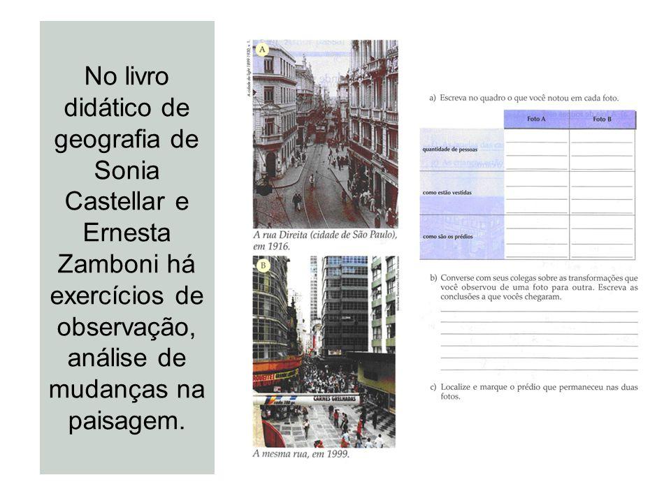 No livro didático de geografia de Sonia Castellar e Ernesta Zamboni há exercícios de observação, análise de mudanças na paisagem.