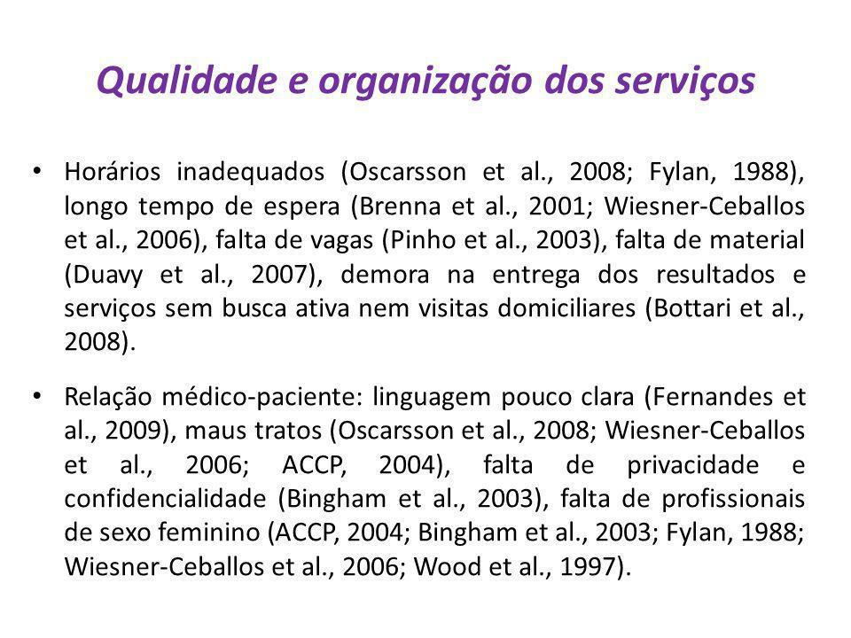 Qualidade e organização dos serviços