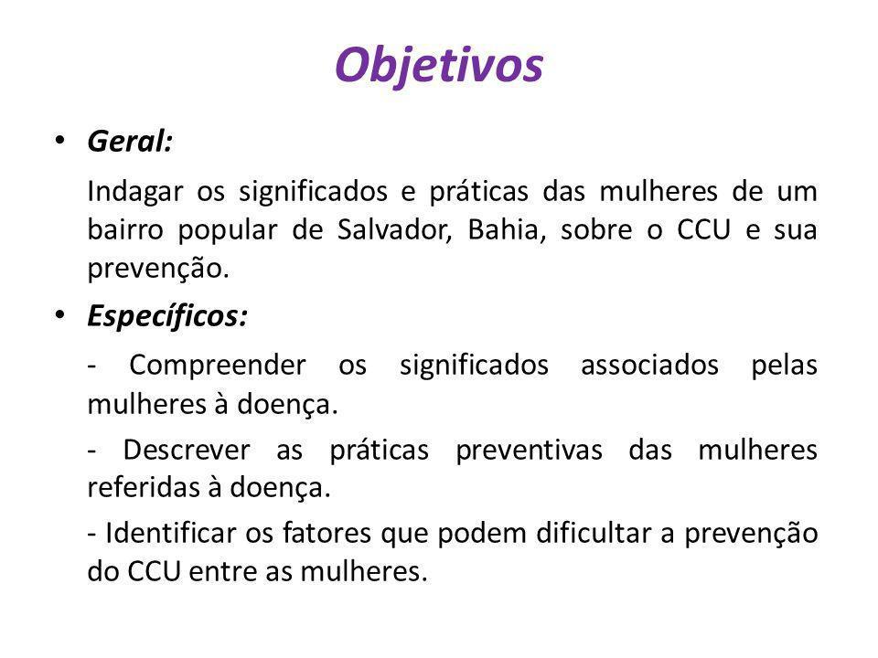 Objetivos Geral: Indagar os significados e práticas das mulheres de um bairro popular de Salvador, Bahia, sobre o CCU e sua prevenção.