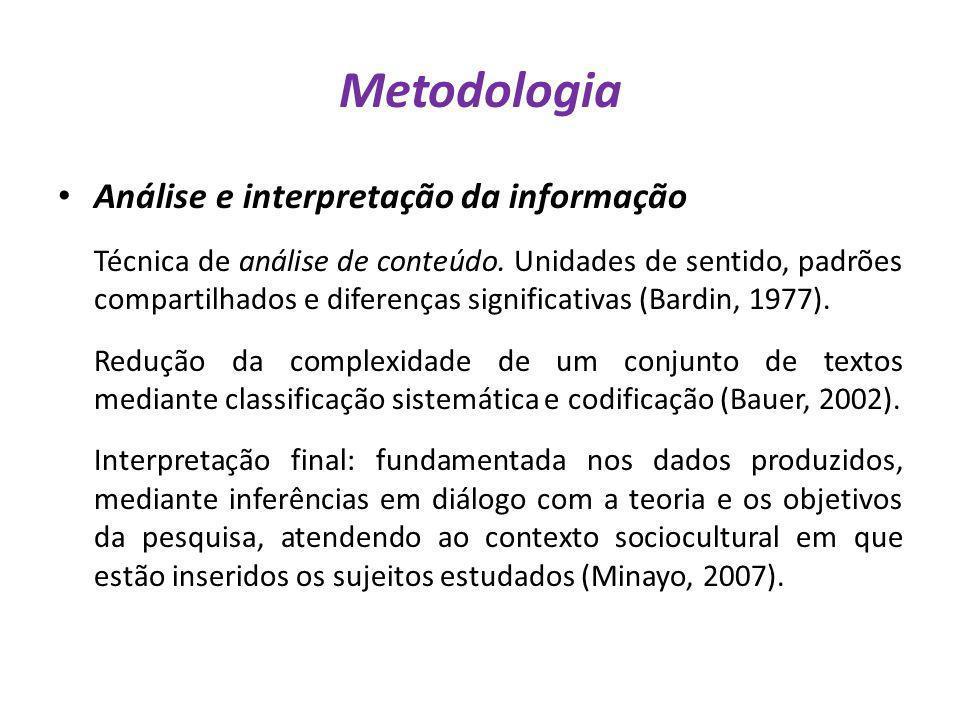 Metodologia Análise e interpretação da informação