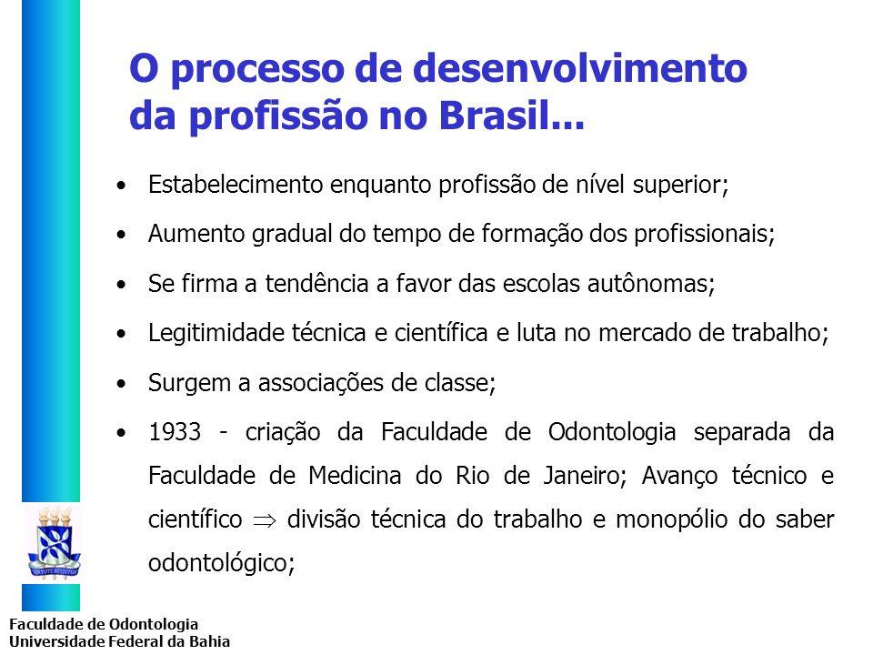 O processo de desenvolvimento da profissão no Brasil...