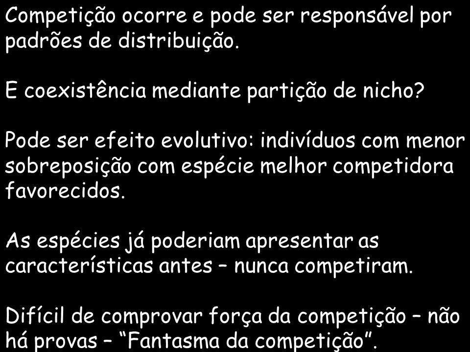 Competição ocorre e pode ser responsável por padrões de distribuição.