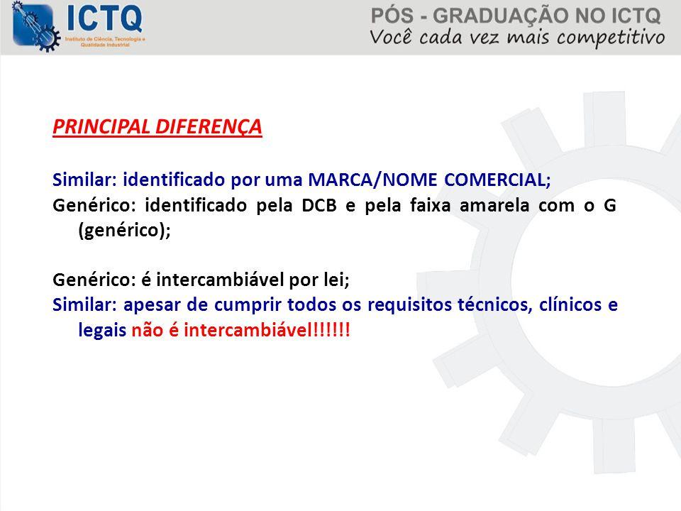 PRINCIPAL DIFERENÇA Similar: identificado por uma MARCA/NOME COMERCIAL; Genérico: identificado pela DCB e pela faixa amarela com o G (genérico);