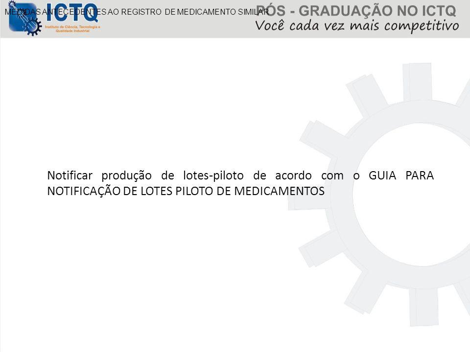 MEDIDAS ANTECEDENTES AO REGISTRO DE MEDICAMENTO SIMILAR