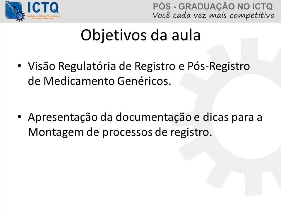 Objetivos da aula Visão Regulatória de Registro e Pós-Registro de Medicamento Genéricos.