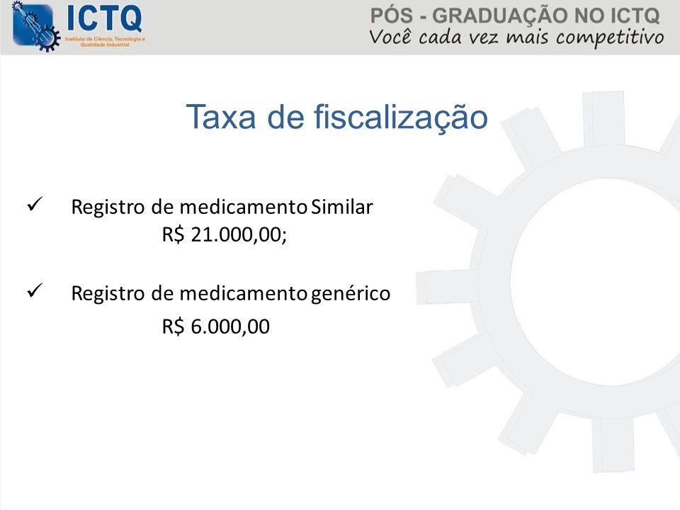 Taxa de fiscalização Registro de medicamento Similar R$ 21.000,00;