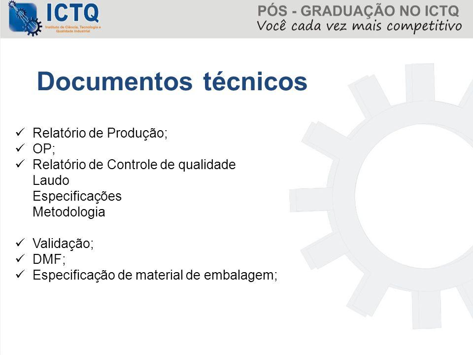 Documentos técnicos Relatório de Produção; OP;
