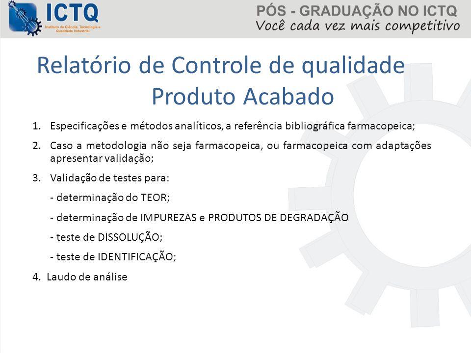 Relatório de Controle de qualidade Produto Acabado