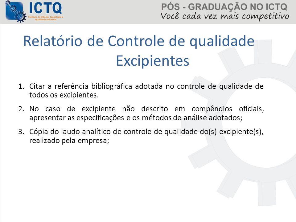 Relatório de Controle de qualidade Excipientes